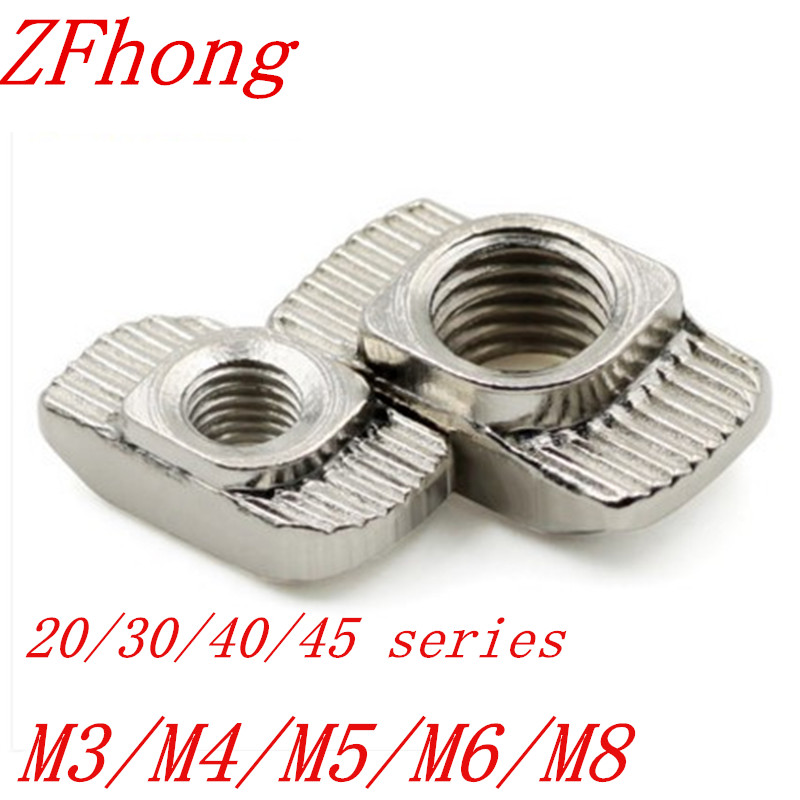 10-100PCS T Nut Hammer Head Nut M3/M4/M5/M6/M8  Connector Nickel Plated For 20/30/40/45 Series  Aluminium Profile Accessories