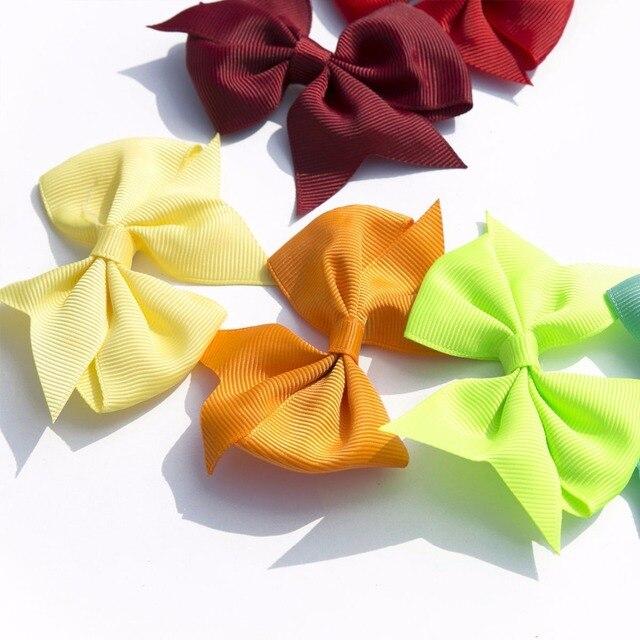 40pcs (20pair) 3.5″ boutique hair bows girls kids children alligator clip grosgrain ribbon headbands 20 colors