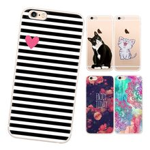 GerTong Transparent Slim TPU Phone Case For iPhone 6 7 5S 6S Plus 5 S SE Printing Cat Rose Lover Pattern Silicon Back Cover