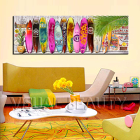 FREE SHIPPING Sunmmer Surfboard Modern Painting On Canvas China Unframed 50x150cm