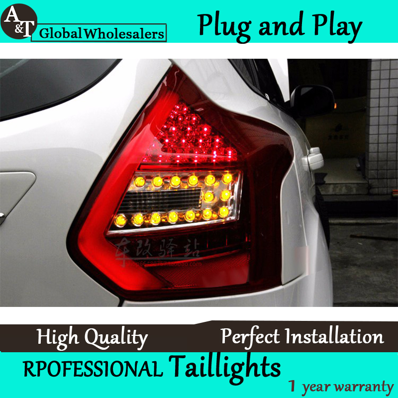 A&T Car Styling for Ford Focus 3 Taillights 2012-2014 Focus Hatch Back LED Tail Light Rear Lamp DRL+Brake+Park+Signal