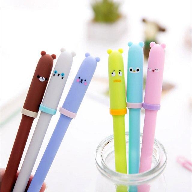 US $1 03 32% OFF| 2pcs/lot Lovely Animal pen cap pen Gel Ink Pen rub magic  pen 0 5 black kawaii school office stationery gifts free delivery -in Gel
