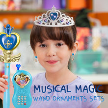 Musical Magic Wand Ornaments Sets Realistic light and music effect Box as Xmas Gifts for Kids Cosplay Fairy Glow Stick Toys(China)