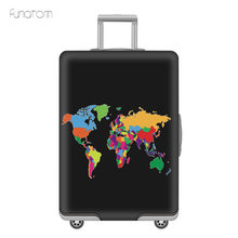 World Map Travel Luggage Suitcase Protective Cover Trolley Baggage Bag Cover Men's Women's Thick Elastic Case For Suitcase недорого