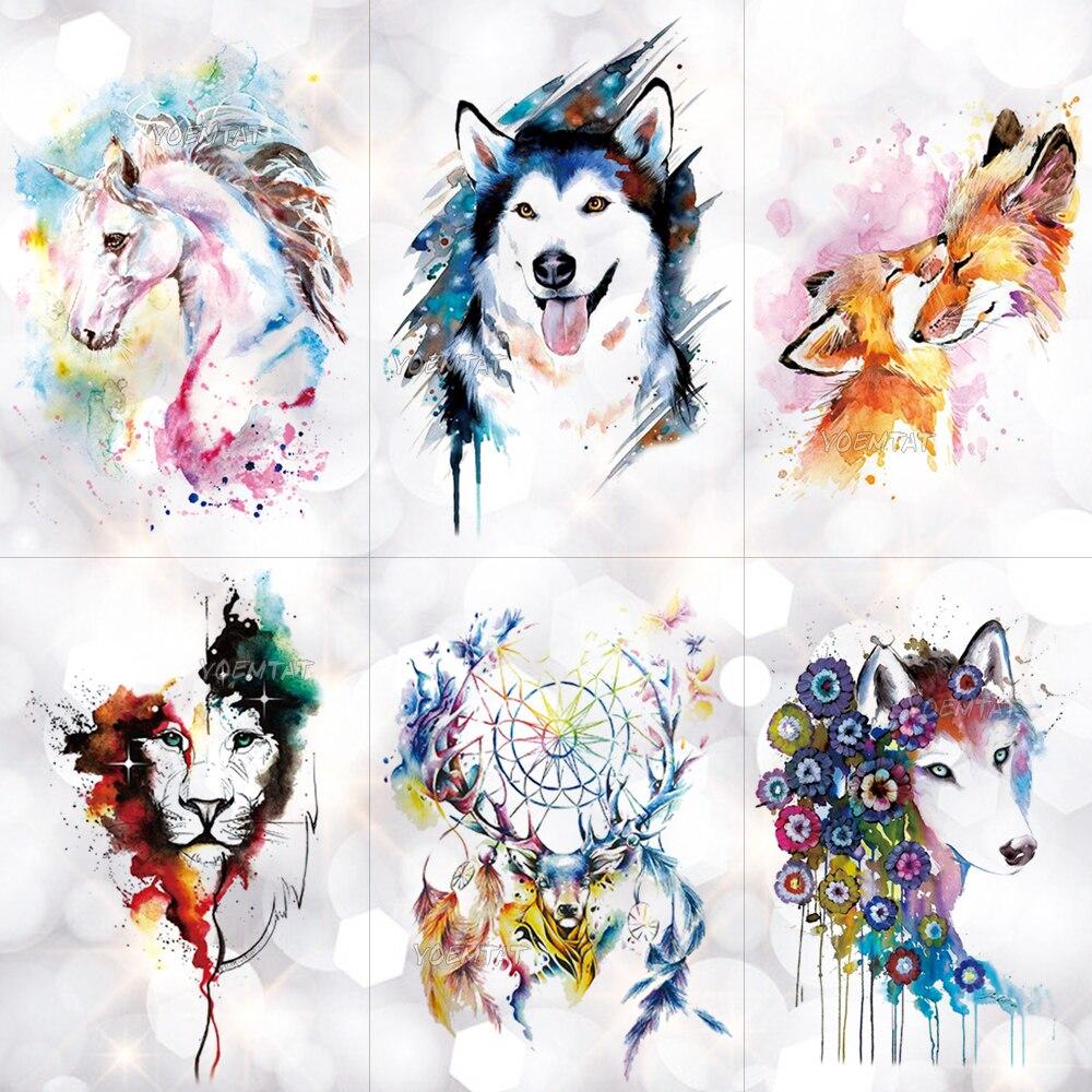 Unicorn Geometric Rose Fox Wolf Waterproof  Temporary Tattoo Sticker Swan Elk Animals Flash Tattoos Body Art Fake Tatoo