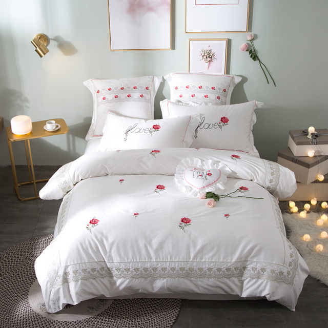 Cute Luxury Pink White Red Rose Bedding Set Queen King Size 100 Cotton Embroidery Bed S Sheet Linen Duvet Cover