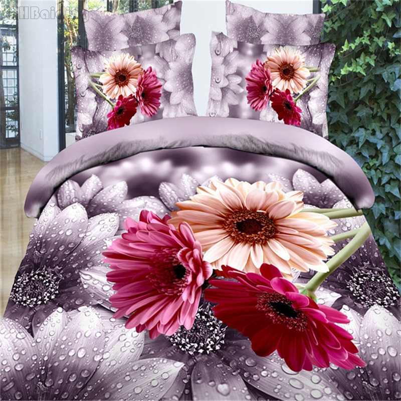 Purple Flowers Printed 3d Bedding Set Women Adults Bed Linens 100 Cotton Include Duvet Cover Bed