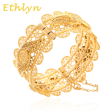 Ethlyn Big Hexagram & Hamsa Bangle  for Women Wide Bracelet Gold Color Arabic Hamsa Hand Bangle Jewelry Middle East Style B48B