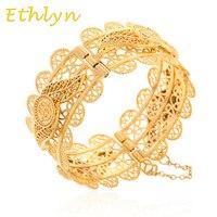 Ethlyn Lớn Quẻ & Hamsa Bangle đối với Phụ Nữ Wide Vòng Đeo Tay Vàng Màu Arabic Hamsa Tay Bangle Jewelry Trung Đông Phong Cách