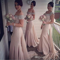 Cristal de lujo rebordear sirena de Pink Bridesmade vestidos noche largo elegante dama de Honor del partido de la ocasión de baile vestido 2016