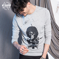 ATHIEF Casual THE DOORS Jim Morrison Pattern Printed Long Sleeve T-Shirt Men Fashion Skull Vintage Plus Size Bottoming Shirts