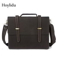 Real Crazy Horse Leather Men's Business Briefcase Office Vintage Fashion Shoulder Bags Male Travel Handbags Brown Messenger Bag