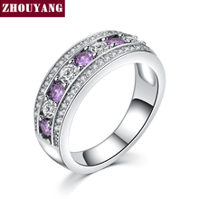 Fashion Cocktail Party Women Rings 18K White Gold Plated Purple Crystals Bijoux CZ Diamond Ring jewelry Chirstmas Gift ZYR585