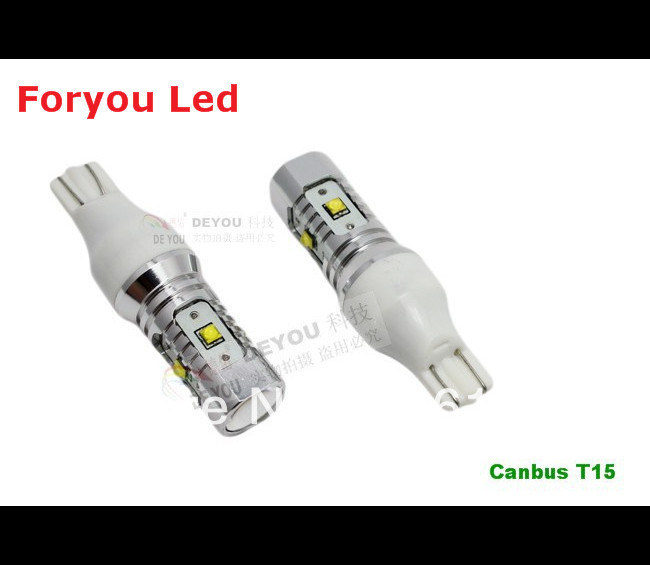Free shipping 2 Pieces No Error CREE XBD Chips 25W Canbus T15 W16W LED Backup Light car Reversing light bulb ruiandsion 2x75w 900lm 15smd xbd chips red error free 1156 ba15s p21w led backup revers light canbus 12 24vdc