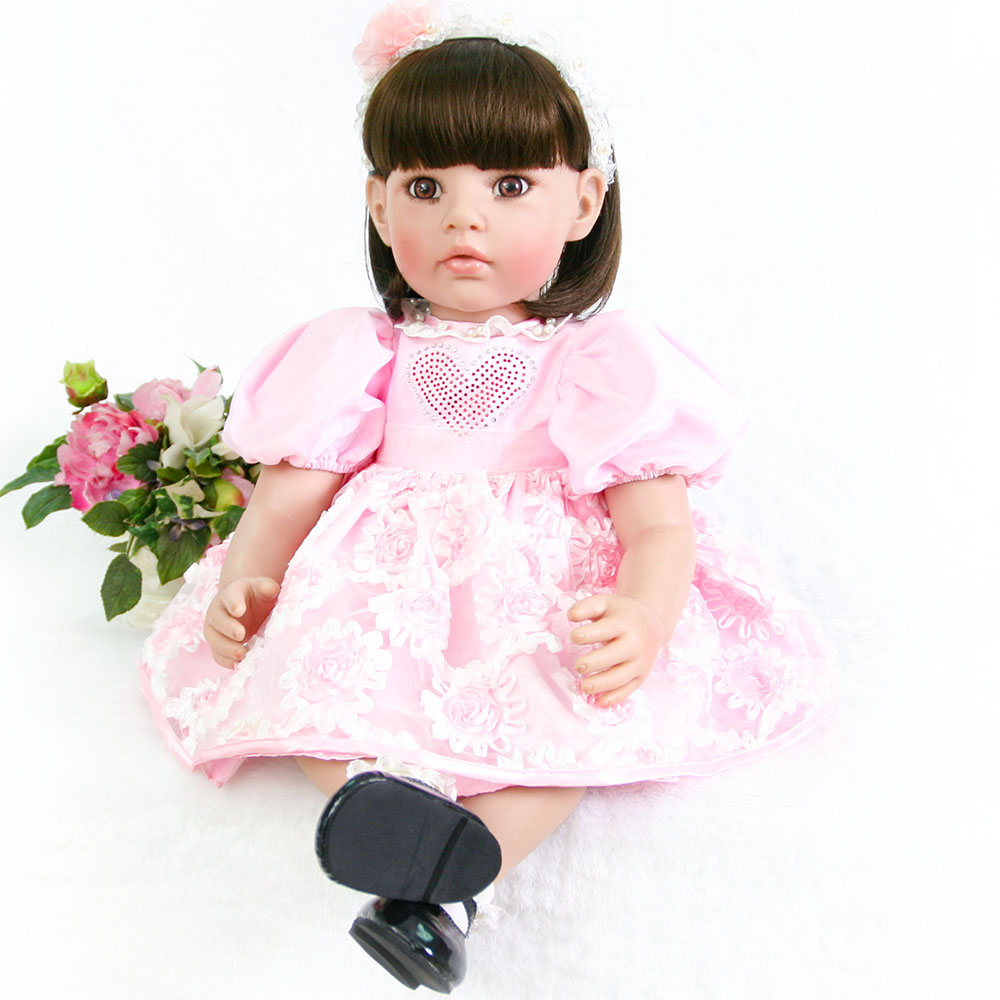60cm Silicone Reborn Baby Doll Toys 24inch Princess Toddler lifelike face quiet doll Dolls Girls Brinquedos play house toys60cm Silicone Reborn Baby Doll Toys 24inch Princess Toddler lifelike face quiet doll Dolls Girls Brinquedos play house toys