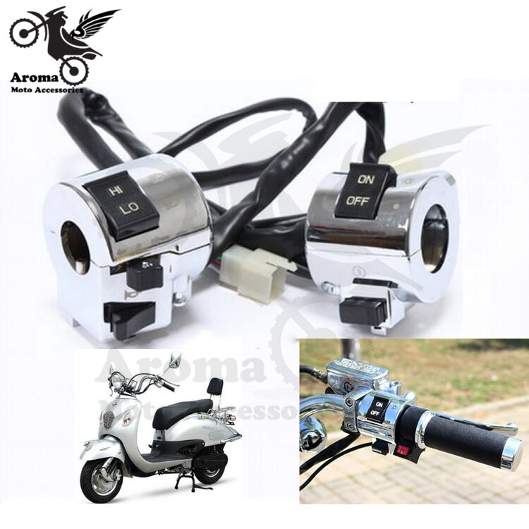 1 paar sliver motorfietsschakelaar universeel 25mm 1''motor Stuurschakelaars Bedieningsknop koplampdraaiing Signaallamp Hoorn