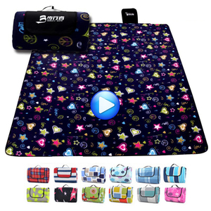 Image 1 - 200*200CM Beach Mat Blanket Outdoor Beach Cushion Camping Multiplayer Foldable Baby Climb Plaid Waterproof Picnic Sand Free Mat