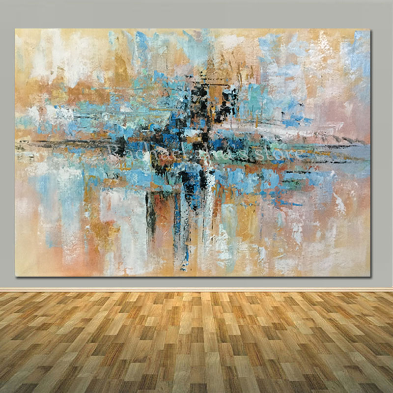 Hand Painted Modern Abstract Blue Brown Oil Painting On Canvas Living Room Home Wall Abstract Oil
