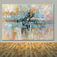 Hand Painted Modern Abstract Blue Brown Oil Painting On Canvas Living Room Home Wall Abstract Oil Picture for Decoration Arts