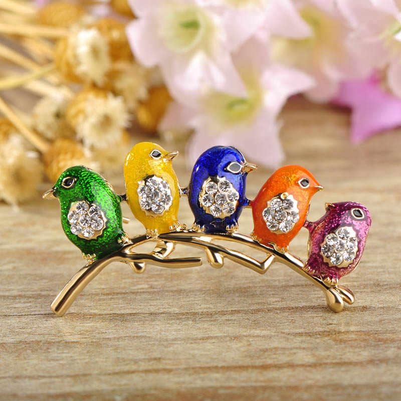 Blucome Kleurrijke Vijf Leuke Vogels Broches Kristallen Emaille Sieraden Voor Meisjes Kinderen Beste Cadeaus Sjaal Schouder Pak Kraag Corsages
