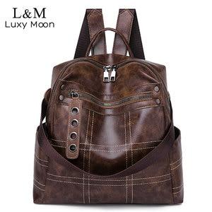 Image 1 - Women Vintage Backpacks Multi function High Quality Leather Backpack For Girls Large Female Bag School Shoulder Bags 2020 XA266H