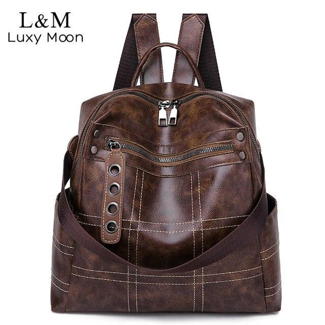 Women Vintage Backpacks Multi function High Quality Leather Backpack For Girls Large Female Bag School Shoulder Bags 2020 XA266H