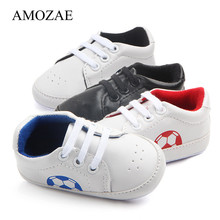 New Spring Baby Boy Girl Shoes Newborn Infant Football Print Sneaker Anti-slip Soft Sole Toddler Lace-up PU Prewalker
