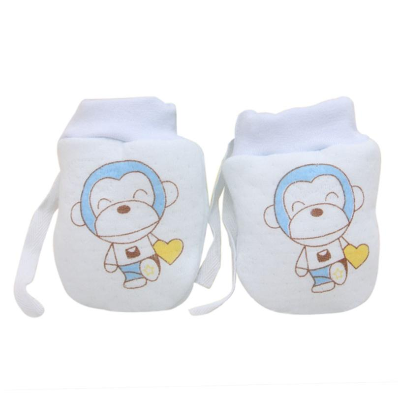 Boys' Baby Clothing Infant Cotton Anti-scratch Warm Gloves Newborn Gloves Baby Cartoon Monkey Small Cute Baby Gloves Protection Of Baby Products