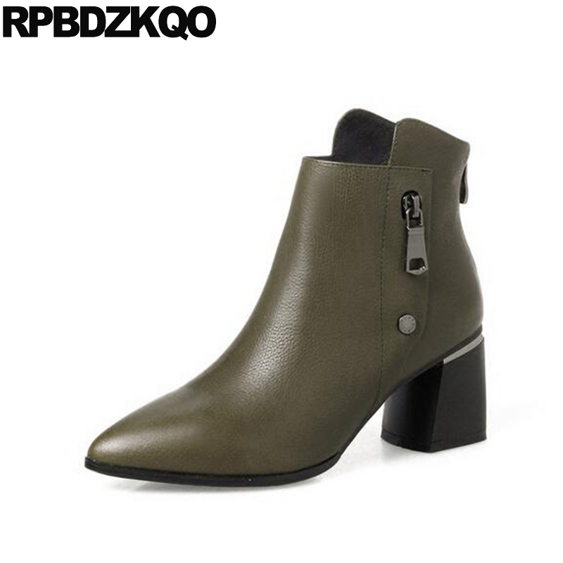 Women Ankle Boots Medium Heel Metal Green Booties Fall 2017 Short Genuine Leather Chunky Female Autumn Pointed Toe High Brand autumn elegant high heel women ankle boots 2016 round toe short shoes fall 2017 luxury black genuine leather booties chunky new