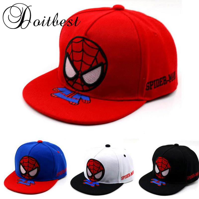 2018 Spring Children Hip Hop   Baseball     Cap   Cartoon spiderman summer kids Sun Hat Boys Girls snapback   Caps   2-9 years old