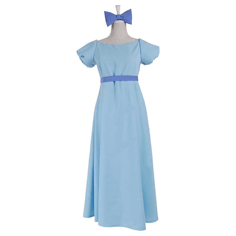 fe2c5f1da1a21 Peter Pan Wendy Dress Rachel Cosplay Costumes Anime PeterPan Blue Long  Fancy Gown Halloween Dance Party Dresses for Women Girls