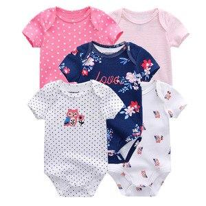 Image 4 - 5 Stks/partij Pasgeboren Baby Bodysuits Unisex Korte Sleevele Baby Jumpsuit O hals 0 12M Katoen Roupa De Bebe Baby kleding Sets