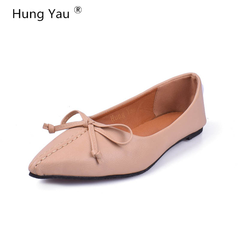 Hung Yau Women Shoes 2018 Spring New Pointed Toe Female PU Leather Flat Shallow Flat Comfortable Slip on Casual Shoes Size US 9 women flat shoes new spring female casual women shoes slip on flat leisure bowtie bowknot ladies trend fashion shoes size 35 39