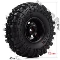 "INJORA Rubber 1.9"" Wheel Tires&Plastic 1.9inch Wheel Rims 4Pcs/Set for 1/10 RC Crawler Axial SCX10 90046 Tamiya CC01 D90 D110 5"