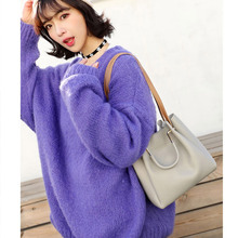 купить 2019 New Women's Bag Bucket Bag Tide Korean Version Of Simple Joker Ladies Slung Handbag Solid Color Shoulder Bag по цене 888.39 рублей