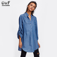 Dotfashion Faux Pearl Yoke Rolled Up Sleeve Shirt Woman Long Sleeve Tunic Blouse 2017 Autumn Blue