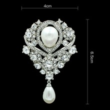 New Rhinestone Crystal Drop Wedding Bridal Brooch Pin Broach For Woman  Jewelry Free shipping BR170201