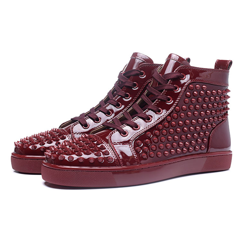 Sexy Patent Leather Mens Casual Shoes Fashion Rivets High Top Lace Up Mens Sneakers Trainers Flat Shoes Breathable Walking Shoes couples high help shoes men s 2018 new trend shoes personality rivets casual shoes gold board shoes mens flat shoes 35 44
