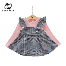 2019 spring and autumn newborn baby girl sleeve dress color matching plaid new cute childrens