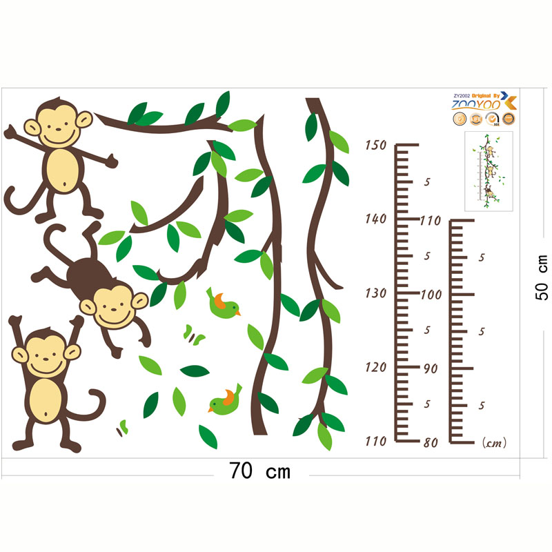 Monkey Height measure Wall Stickers For Children Room Decoration - Heminredning - Foto 2
