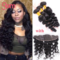 Malaysian Loose Wave With Frontal Closure 3 Bundles Loose Wave With Frontal Queen Malaysian Virgin Hair With Ear To Ear Closure