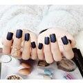 24 unids/pack Moda Francés Falso Del Clavo de Metal Mate de La Cubierta Completa Falsas Uñas Tips nail Art Decal Manicura Herramienta con Pegamento
