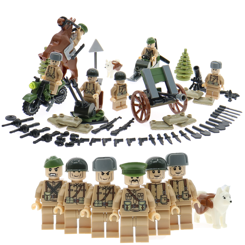 Eaducation building blocks sets WW2 Russian army soliders with horse motorcycle weapons guns accessories bricks toy gift