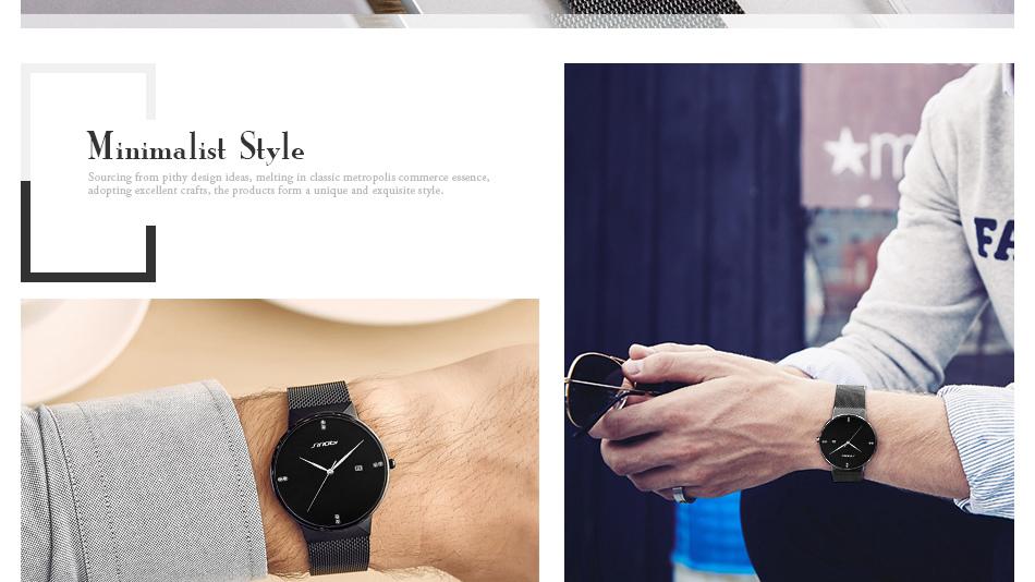 SINOBI Men Quartz Watch Luxury Top Brand Fashion Mesh Delicate Ultra-thin Business Watch Full Stainless Steel Male Wrist Watches 17