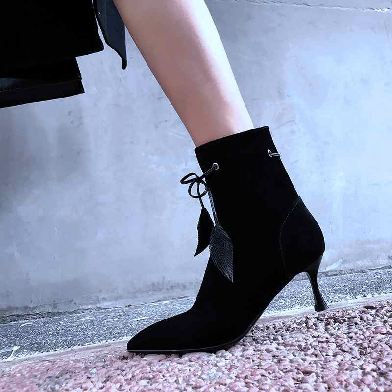 2018 pourpre Daim Conception Cheville Bowtie Garder Talon Décoration Bottes Chaussures Art Up Stiletto Pointu Pot L18 Krazing Bout Au Noir Haut Dentelle Chaud Moutons qCtz5wg