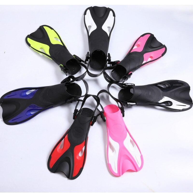2018 New 7 Color Swimming Fins Adult Kids Adjustable Snorkeling Foot Flipper Practice Diving Beginner E