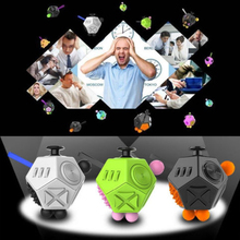 12-Side Sided Fidget Cube Desk Novelty Toy Stress Anxiety Relief Focus Puzzle Adult Kid Gifts Black White Green