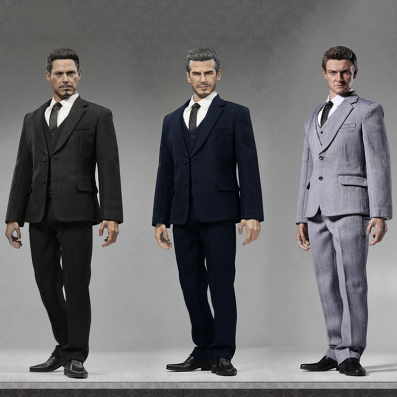 1/6 Male Western-style Clothes Suit with Waistcoat & Leather Shoes X25 For Standard Narrow Shoulder Body Figures