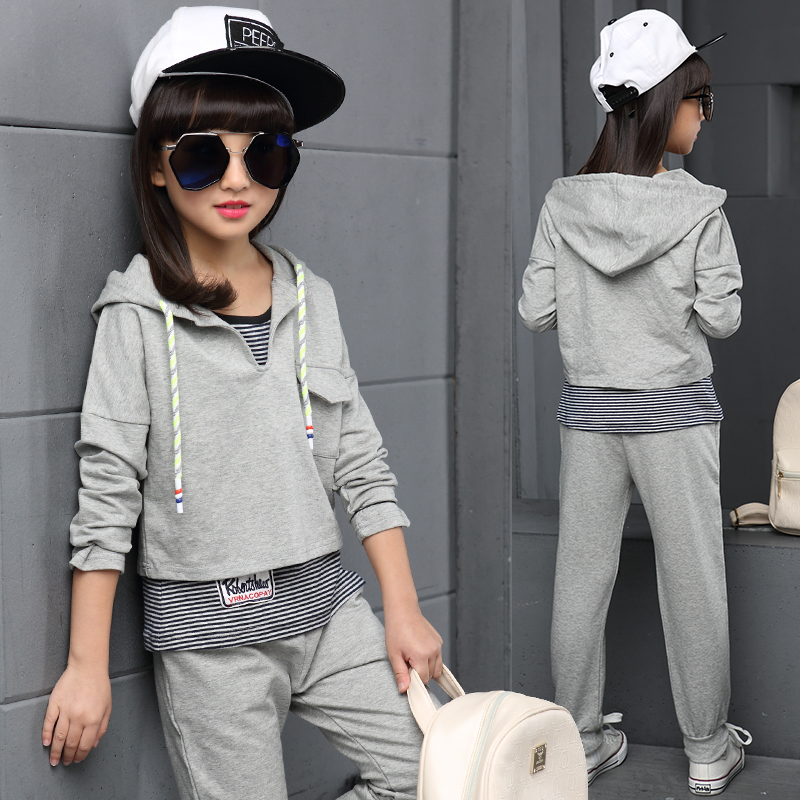 ФОТО Teenage Girls' Clothing Set Autumn New 2016 Kids Girls Clothes Sports Suit Striped Vest+Hoodies+ Pants 3 pieces Girls School Set