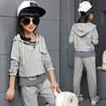 Teenage Girls' Clothing Set Autumn New 2016 Kids Girls Clothes Sports Suit Striped Vest+Hoodies+ Pants 3 pieces Girls School Set